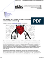 A prepararse para afrontar este nuevo ciclo político [Editorial de la edición n°22 de Solidaridad] _ Solidaridad
