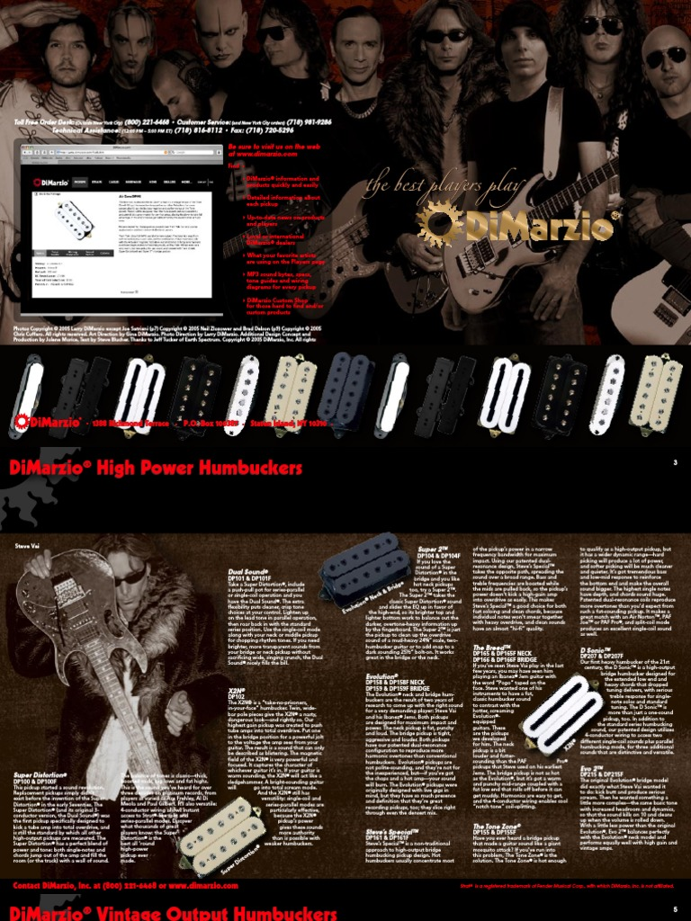 Dimarzio Catalogo Tech Data Guitars Bass Guitar Dsonic Wiring Diagram