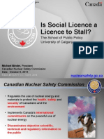 Presentation by head of the Canadian Nuclear Safety Commission