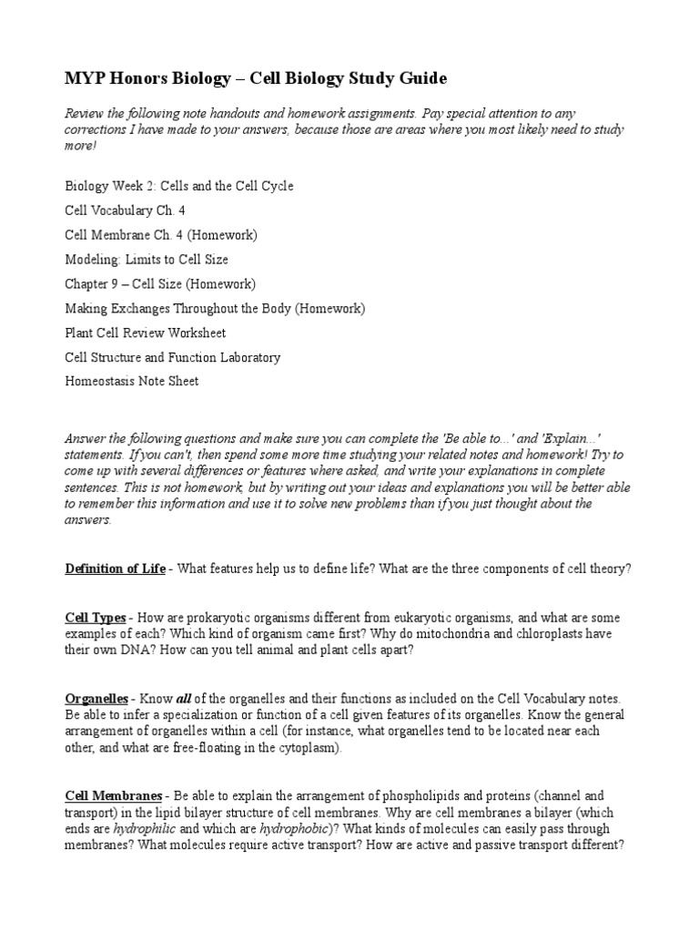 cell biology test study guide | Organelle | Cell (Biology)