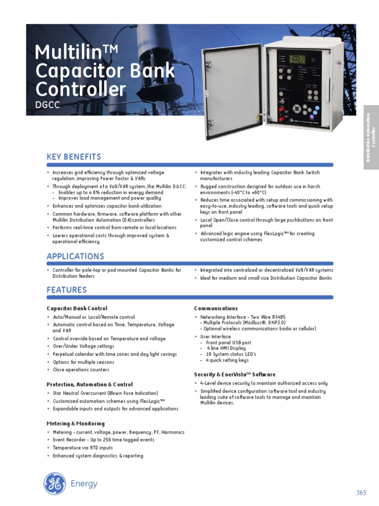 Ge Capacitor Bank Controller Scada Diagram Electronic Canary Also Iso Din Connector Wiring