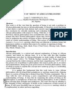 "The Question of ""Being"" in African Philosophy l u Ogbonnaya Filosofia Theoretica 3-1 2014"