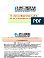 IES Interview Experience of AIR-1 Kunal Srivastava