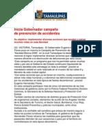 com1001 181206 Inicia Gobernador Eugenio Hernández Flores campaña de prevención de accidentes