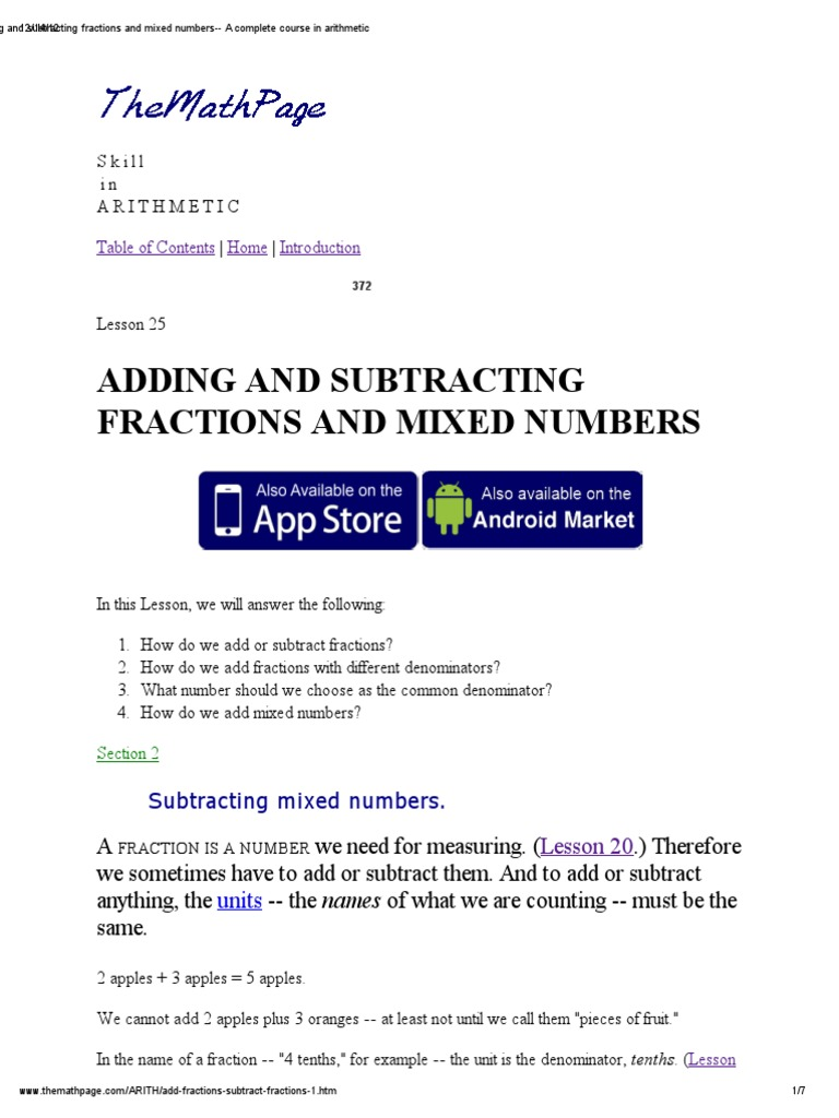 adding-subtracting fractions-mixed numbers.pdf | fraction