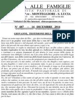 Lettera alle Famiglie - 14 dicembre 2014