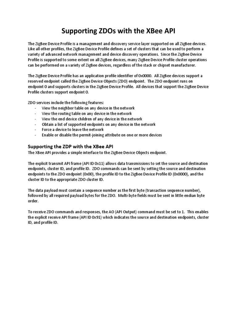 APP NOTE XBee ZigBee Device Profile | Transmission Control Protocol