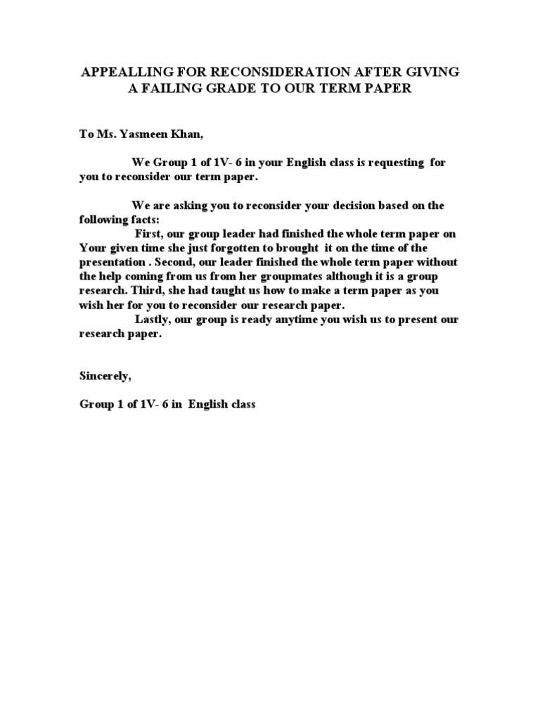 Reconsideration Letter College Application 118