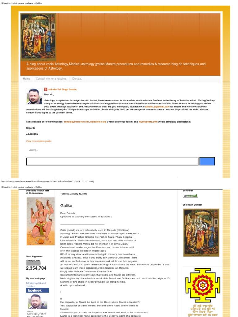 Bharatiya Jyotish Mantra Saadhana  _ Gulika | Hindu