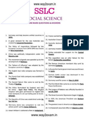 10th Social Science One Mark Questions With Answers English
