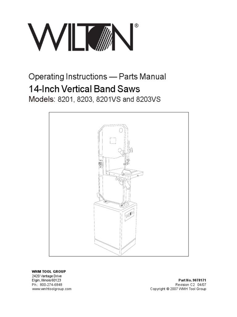 Wilton Operators Manual 14-Inch Vertical Band Saws Model 8201 | Belt  (Mechanical) | Screw