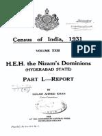 Cnesus of Nizam's Dominions-1931
