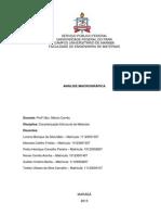 Relatório Caracterização Macrográfica