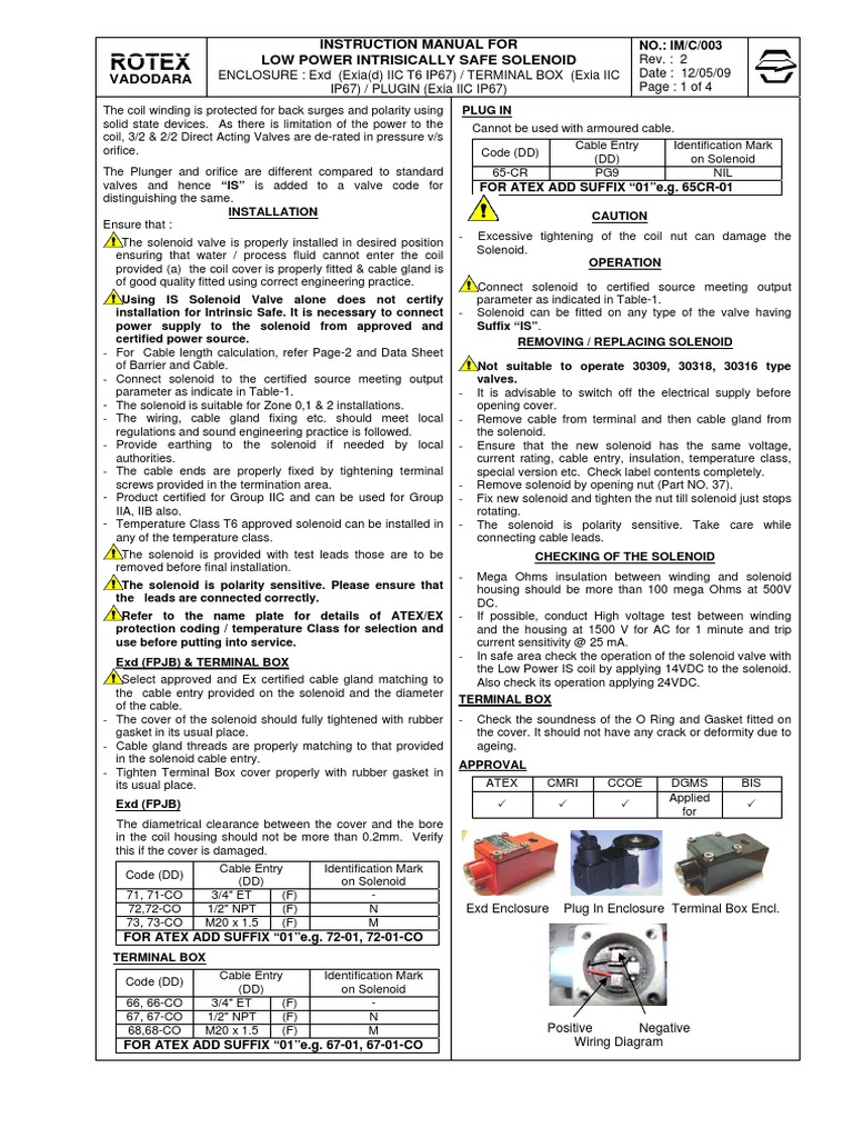 Low Power Intrisically Safe Solenoid Inductance Cable 3 Terminal Wiring Diagram
