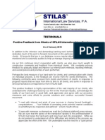 STILAS International Law Services - Testimonials Positive Feedback From Clients