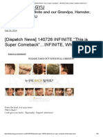 """[Dispatch News] 140726 INFINITE """"This is Super Comeback""""…INFINITE, Who's Back_ _ Infinite CHING-GYU"""