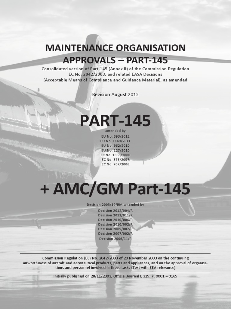Easa Part 145 Rev 01 | Aviation | Aeronautics