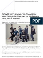 """{NEWS} 100714 Infinite """"We Thought We Were Going to Be Musicians but We Became Idols"""" NoCut Interview _ Endless Limits"""