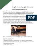 Monterey Symphony Announces Spring 2015 Concerts