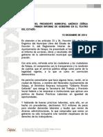 DISCURSO DEL PRESIDENTE MUNICIPAL AMÉRICO ZÚÑIGA MARTÍNEZ, PRIMER INFORME DE GOBIERNO EN EL TEATRO DEL ESTADO.