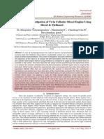Experimental Investigation of Twin Cylinder Diesel Engine Using Diesel & Methanol