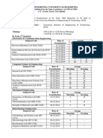 B Tech Date Sheet