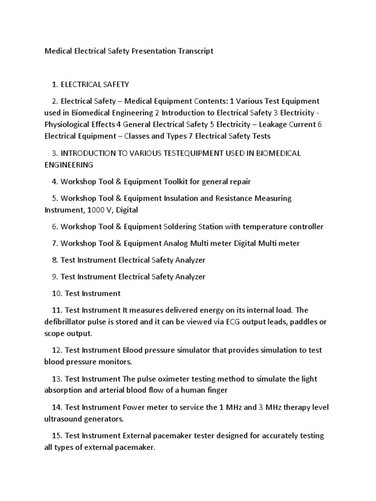 Medical Electrical Safety Presentation Transcript   Electric Current ...