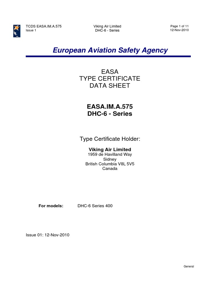 Easa Tcds For Dash 6 400 Aerospace Industries