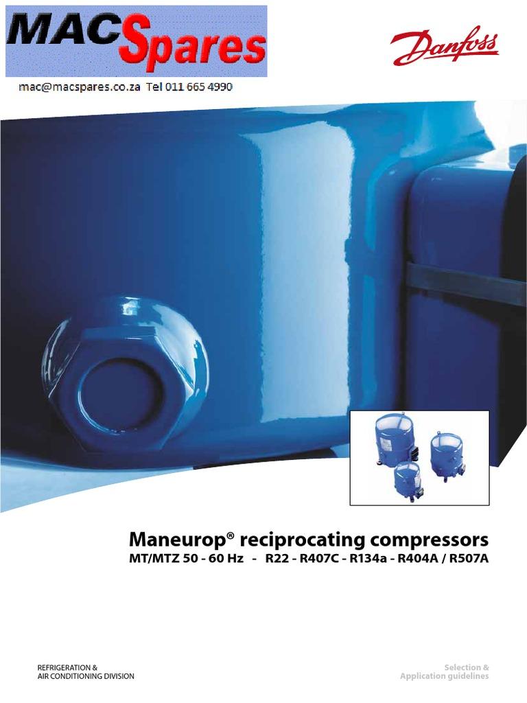 MS Maneurop Refigeration Compressors Spec Sheets ... on