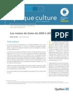 Les ventes de livres de 2009 à 2013 au Québec