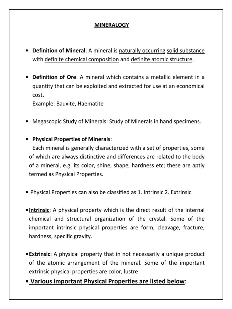 Physical properties of minerals: description, characterization 76