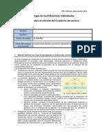 Comprensión lectora y procesos ejecutivos de la memoria operativa - Diferencias Individuales PEC Curso 13-14