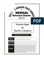 Practice Test-03 of AIATS Medical-2015 (Code-A)