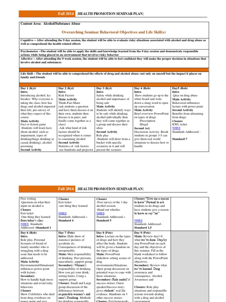 substance abuse group handouts