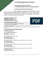 EDITAL DE CONVOCAÇÃO GUARDA MUNICIPAL 2014