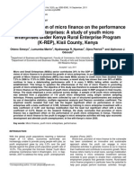 Effect of provision of micro finance on the performance of micro enterprises