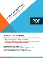 Literary Analysis Essay Tom Sawyer