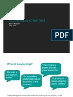 Leadership a Critical Text