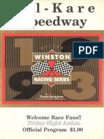 1993 Kil Kare Speedway Nascar Winston Racing Series Race Program