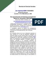 Histéresis Laboral en Venezuela (1965-2003)