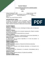 1 - PLAN de TRABAJO - Formulación y Evaluación de Proyectos Agropecuarios