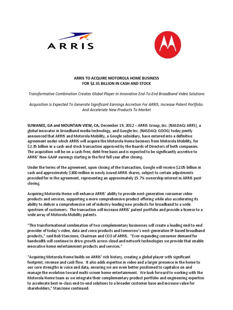 ARRIS Announcement Release | Motorola | Mergers And Acquisitions