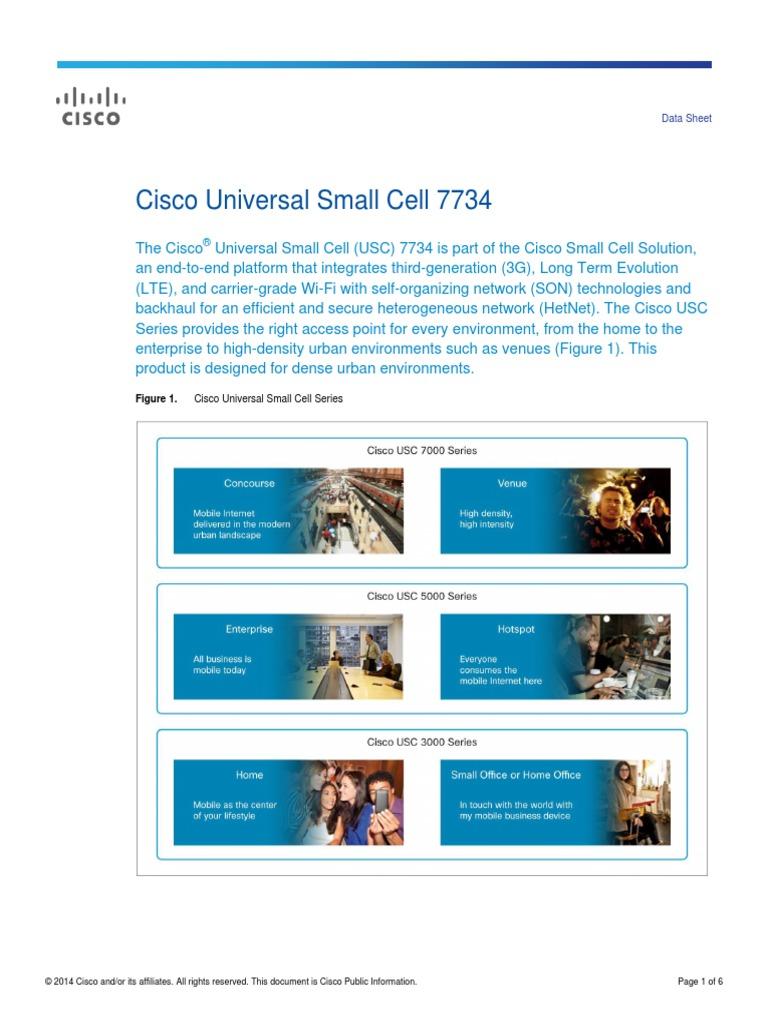 cisco usc 7734 smallcell datasheet 4 g high speed packet access