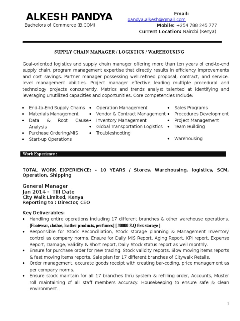 Alkesh Pandya CV | Warehouse | Supply Chain Management
