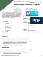 Maharishi Markandeshwar University, Mullana - Wikipedia, the free encyclopedia.pdf