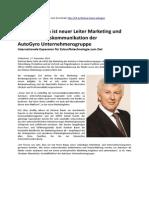 Dietmar Baum ist neuer Leiter Marketing und Unternehmenskommunikation der  AutoGyro Unternehmensgruppe