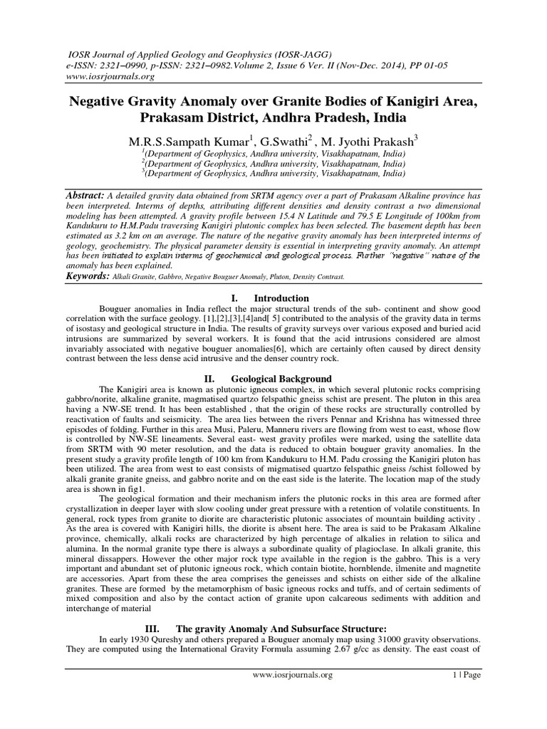 Negative Gravity Anomaly over Granite Bodies of Kanigiri Area