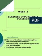 Week 2 (Environment Screening)