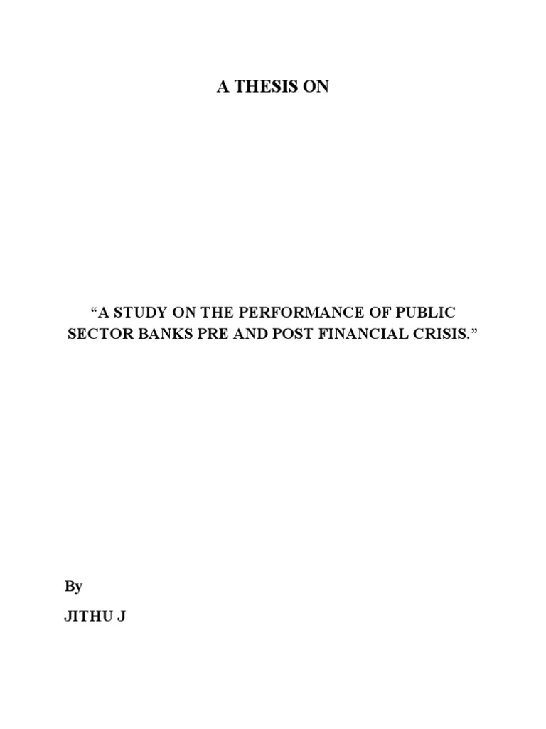 Management Thesis on performance of public sector banks ...