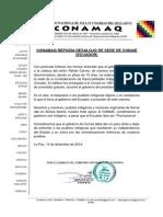 Carta Respaldo de CONAMAQ a CONAIE sobre su SEDE